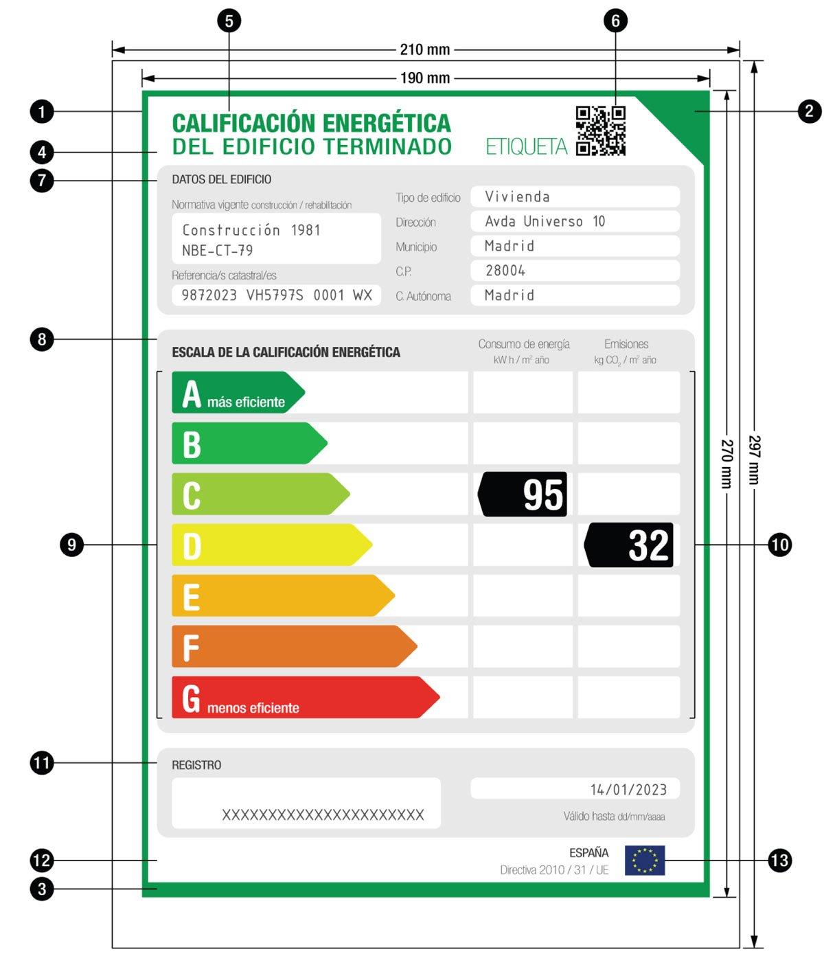 Modelo Etiqueta Eficiencia Energética - Certificado Energético